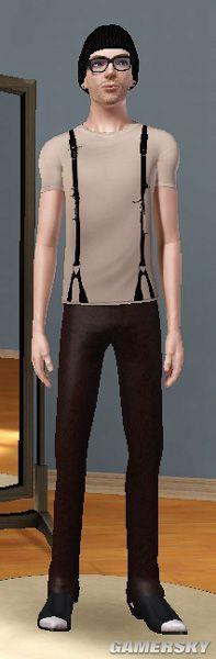 《模拟人生3》mod情趣丝袜男性三件拉丁舞服饰衣服跳图片