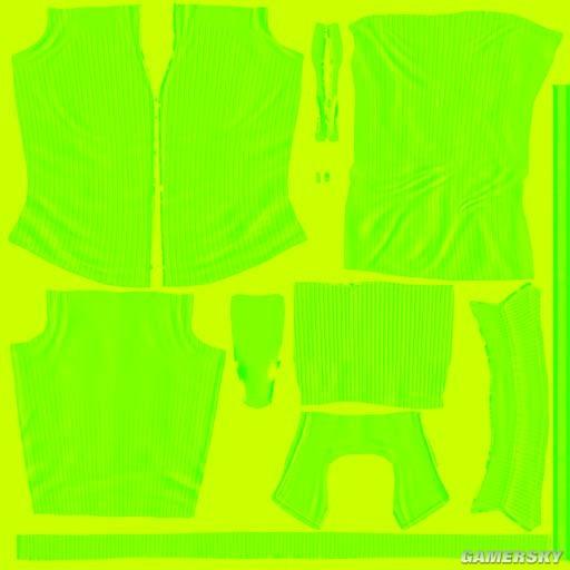 上衣的法线贴图(影响衣服褶皱在光照下的细节表现) tru.